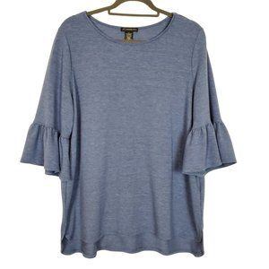 Adrianna Papell Blue 3/4 Bell Sleeve Top Size XL